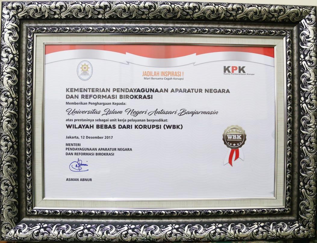 Sertifikat WBK dari MENPANRB